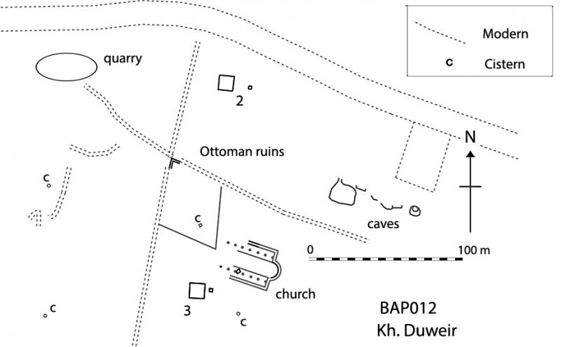 Fig. 1. Plan of sampled area of Kh. Duweir, showing proposed church (SE corner of church at 750097E 3590096N) and sounding squares 2 and 3.