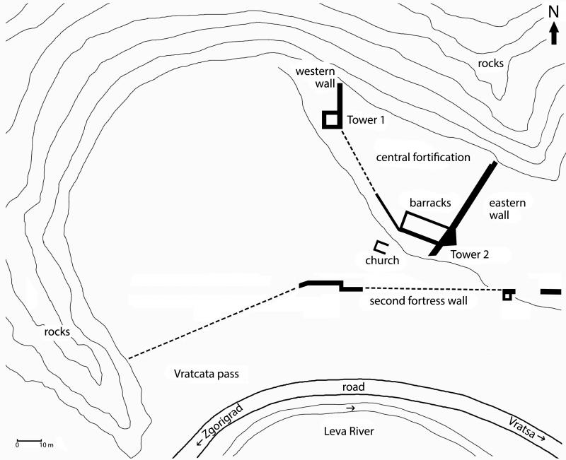 Fig. 5. Plan of the fortress in Vratcata locality (drawing by N. Torbov).