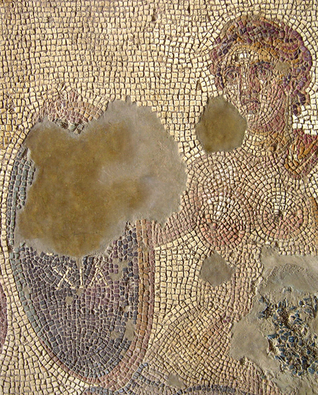 Fig. 2. Eutychia mosaic, detail of female figure and her shield (N. Anastasatou and B. Robinson; courtesy American School of Classical Studies, Corinth Excavations) (= fig. 7 in published article).
