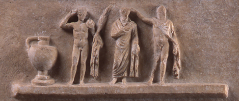 Fig. 5. Ephebic relief, showing the kosmetes and ephebes (National Archaeological Museum, Athens; © Hellenic Ministry of Culture and Tourism/Archaeological Receipts Fund) (= fig. 13 in published article).