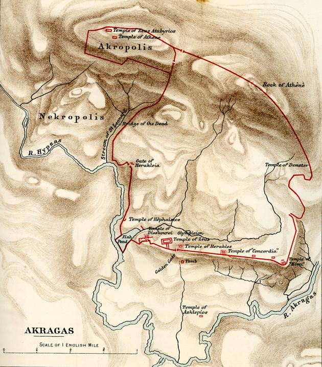 Fig. 1. Map of Akragas (Freeman 1891, 244).
