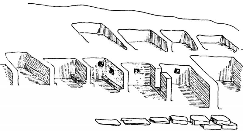 "Fig. 5. Drawing of the archaic ""casette a schiera"" (Marconi 1929a, fig. 17)."