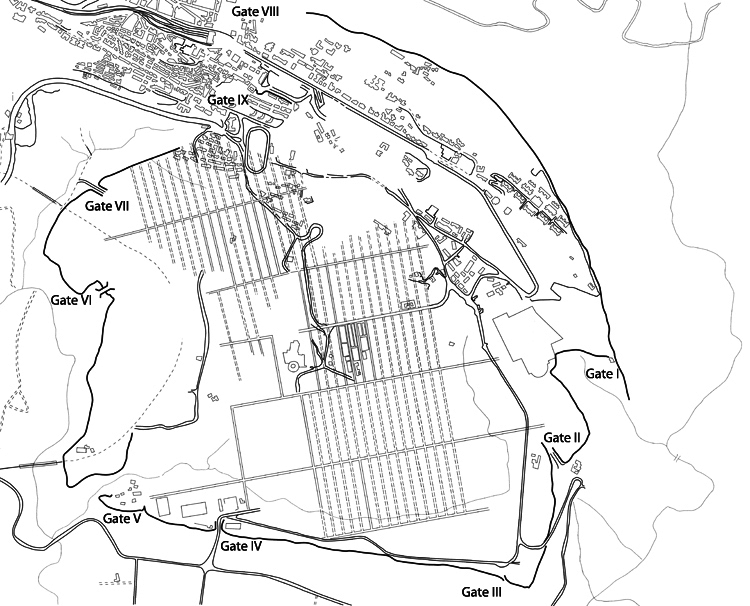 Fig. 6. Plan of the fortification wall and gates at Akragas (modified from Bennett and Paul 2002, fig. 11).