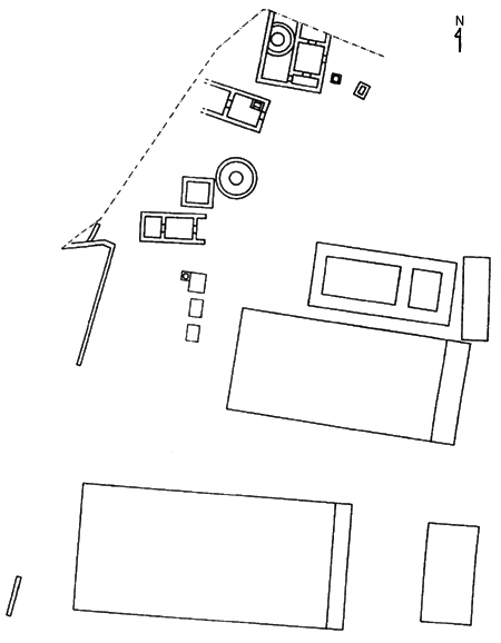 Fig. 12. Building development at the Sanctuary of the Chthonic Divinities during the end of the sixth century B.C.E. (Zoppi 2001, fig. 115).