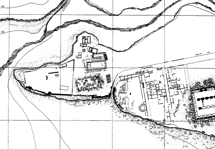 Fig. 15. Plan of the sacred areas at Gate V, showing the Sanctuary of the Chthonic Divinities (left) and a small temple alongside the walls (right). The area was defined on the northern side by a rectangular structure, probably a lesche (modified from De Miro 2000, fig. 1).