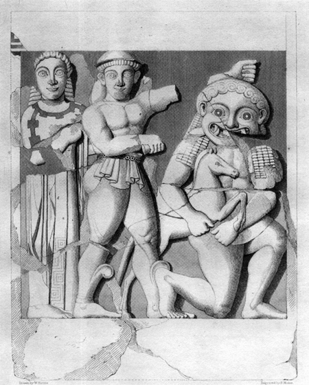 Fig. 30. Metope from Temple C at Selinous, depicting Athena, Perseus, Medusa, and Pegasus (Angell and Evans 1826, pl. 7).