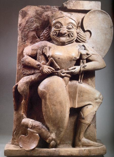 Fig. 31. Terracotta altar, depicting Medusa, Chrysaor, and Pegasus (mid sixth century B.C.E.). Gela, Museo Archeologico Regionale, inv. no. Sop. BL 10 (Bennett and Paul 2002, 248).
