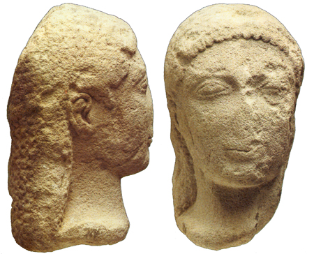 Fig. 33. Kouros head in local stone. Agrigento, Museo Archeologico Regionale, inv. no. C 1837 (Pugliese Carratelli 1985, fig. 163) (= fig. 14 in published article).