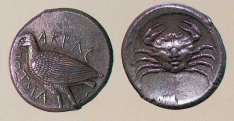 Fig. 38. Tetradrachm of Akragas, with an eagle on the obverse and a crab on the reverse (Pugliese Carratelli 1985, fig. 68).
