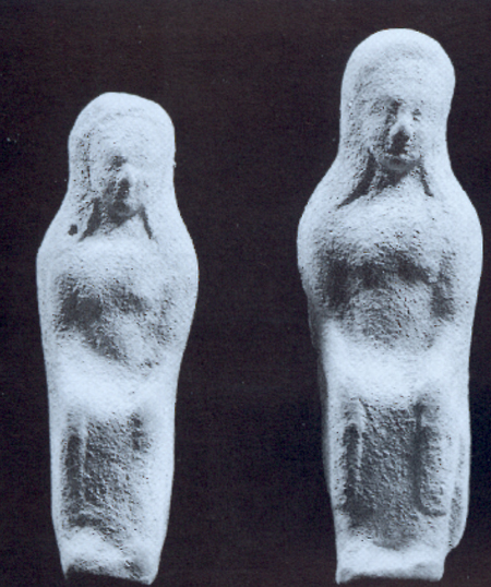 Fig. 39. Terracotta statuettes from the sacred area at Gate V, influenced by Ionian style, 540–530 B.C.E. (De Miro 2000, pl. 57.1).