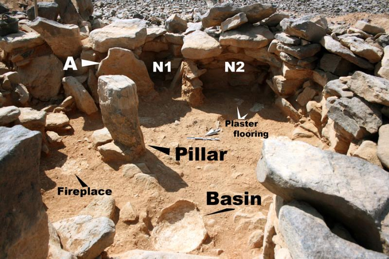 "Fig. 34. Wisad Pools, Structure W-66, a corbeled dwelling dating to the Late Neolithic (ca. 6,500–6,000 B.C.E.): A, ""shouldered"" stone to the east of the pillar that acted as a roof support; N1, N2, constructed niches (G. Rollefson)."