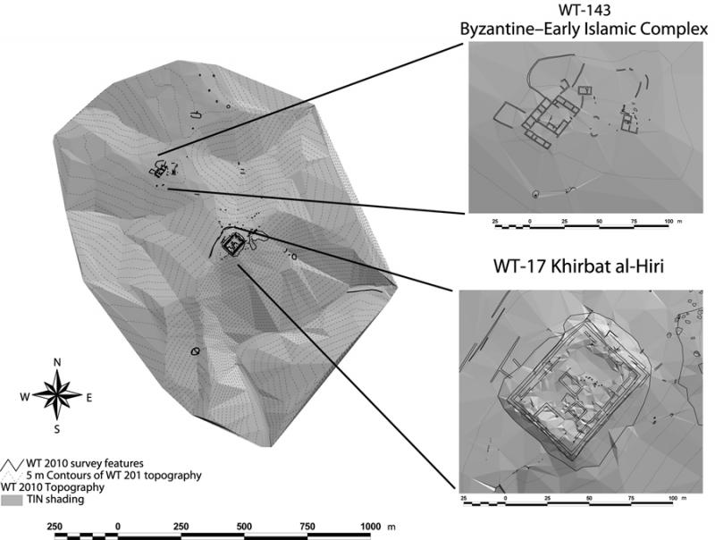 Fig. 48. Topographic and architectural survey by the Wadi ath-Thamad Project in 2010, showing details of the Iron Age fortress Khirbat al-Hiri (WT-17) and a Byzantine–Early Islamic complex (WT-143) (courtesy the Wadi ath-Thamad Project).