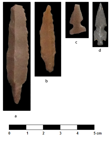 Fig. 54. Point types from al-Khayran, Jordan: a, Byblos; b, A45; c, el-Khiam; d, Helwan (M. Kroot).