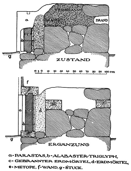 Fig. 3. State and restored sections of the kyanos frieze in the vestibule of the Tiryns megaron (modified from Müller 1930, fig. 66).