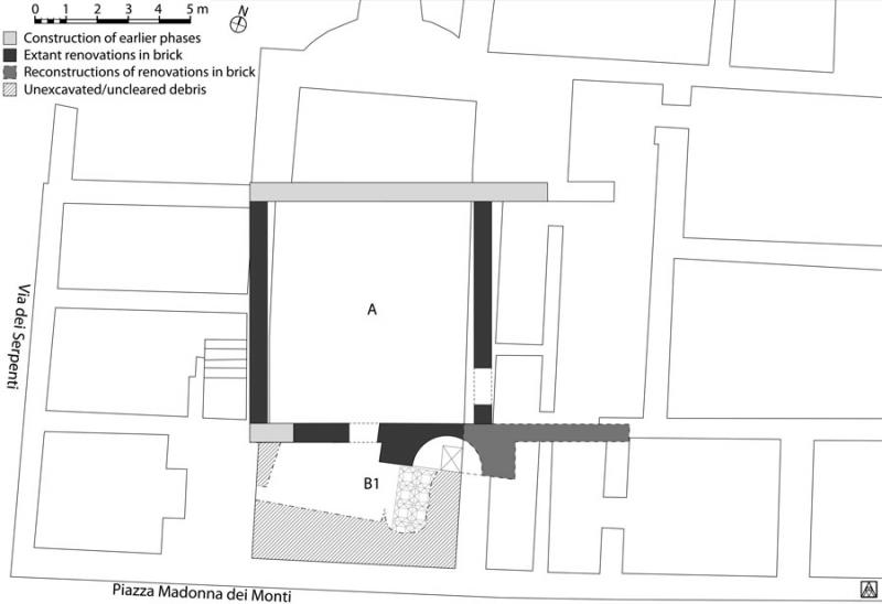 Fig. 1. Plan of the house below Santi Sergio e Bacco on Piazza Madonna dei Monti in Rome, showing first phase of imperial renovations carried out in brick.
