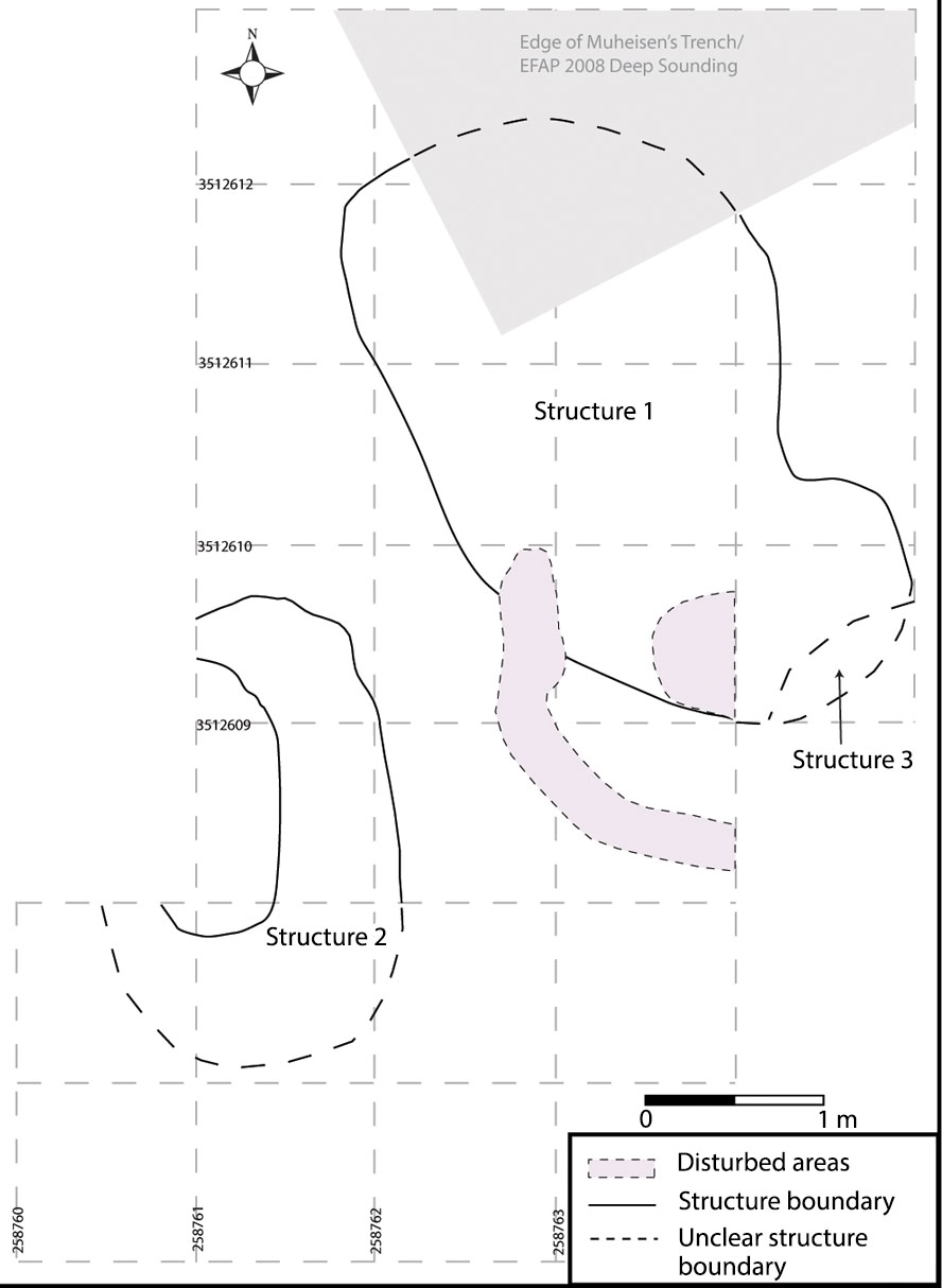 Fig. 5. Plan of Structures 1–3 at Kharaneh IV, as drawn from the 2010 and 2013 excavation seasons (courtesy Kharaneh IV Excavation Project).