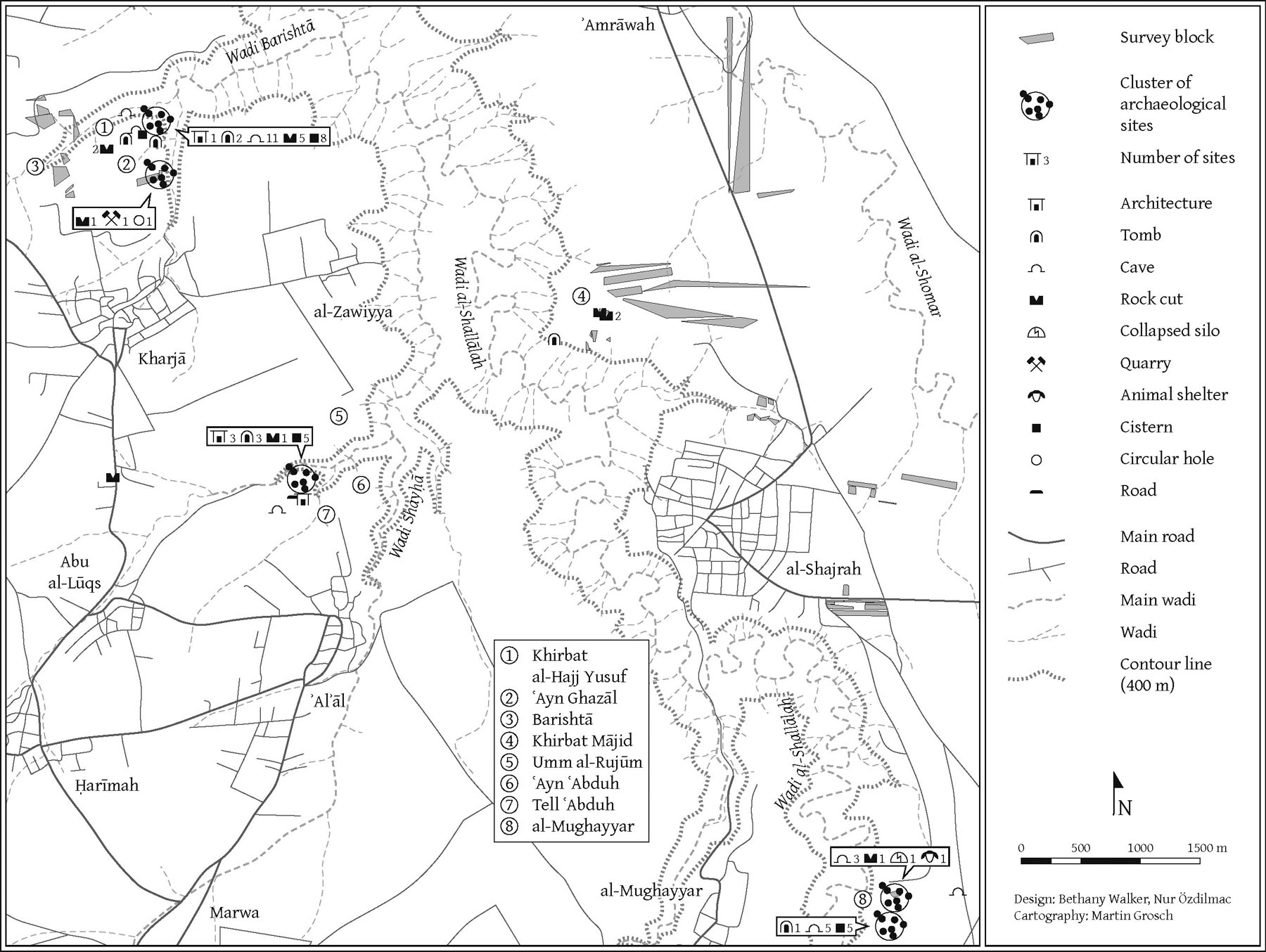 Fig. 6. Map of the Northern Jordan Project's 2012 survey area (courtesy M. Grosch).