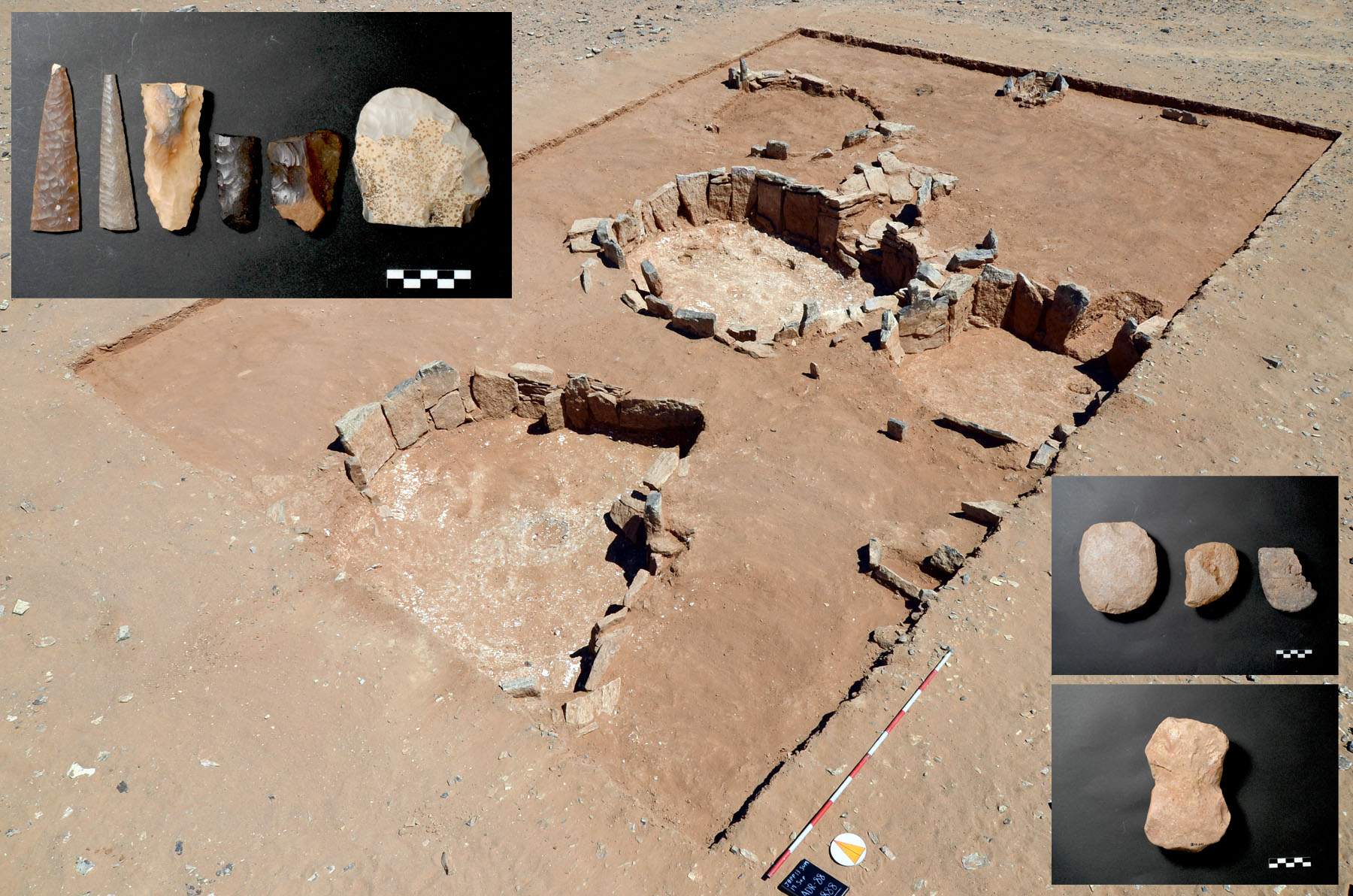 Fig. 12. Structural complex and small finds from Hashm al-'Arfa 1 (courtesy Jafr Basin Project).