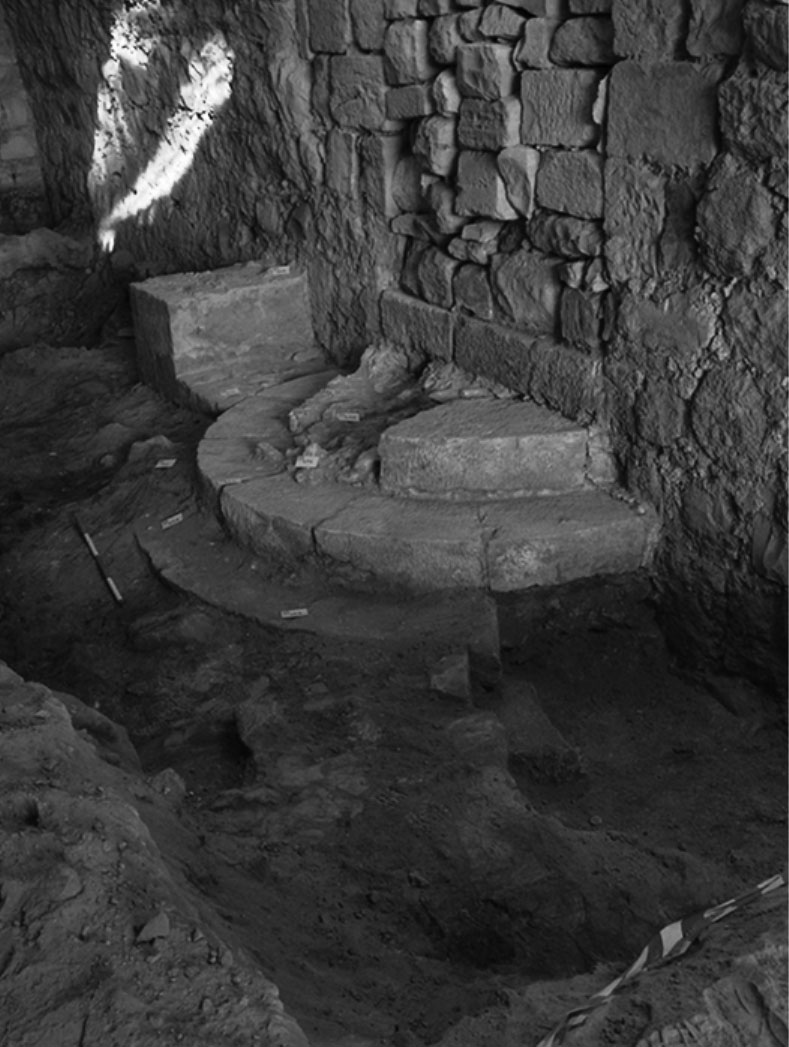 "Fig. 14. Ayyubid ""monumental"" staircase excavated in Area 35000 at Shawbak (courtesy Medieval Petra Project)."