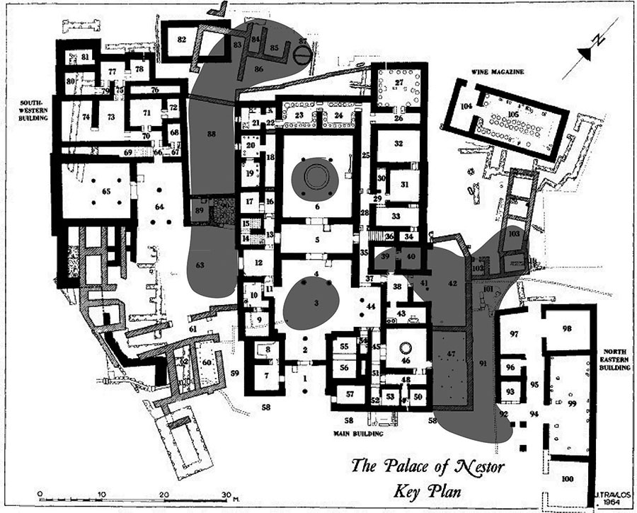 Fig. 1. Plan of the Palace of Nestor, showing distribution of greasy black stratum (modified from Blegen and Rawson 1966; courtesy Department of Classics, University of Cincinnati).
