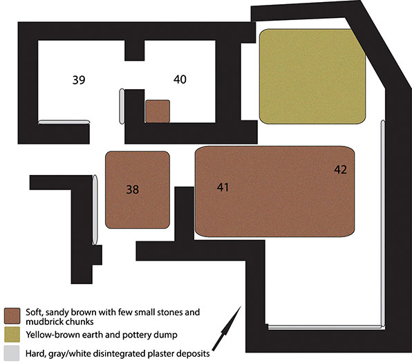 Fig. 6. Plan of Rooms 38–40, Porch 41, and Court 42, phase 1 post-destruction deposits.
