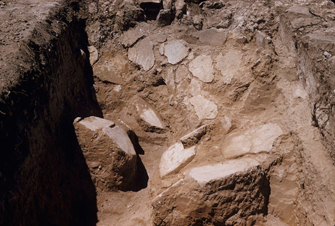Fig. 10. Fallen floor plaster in Room 39, trench VEc, view from the northeast (Palace of Nestor Excavation Archives, slide P.54.4.9; courtesy Department of Classics, University of Cincinnati).