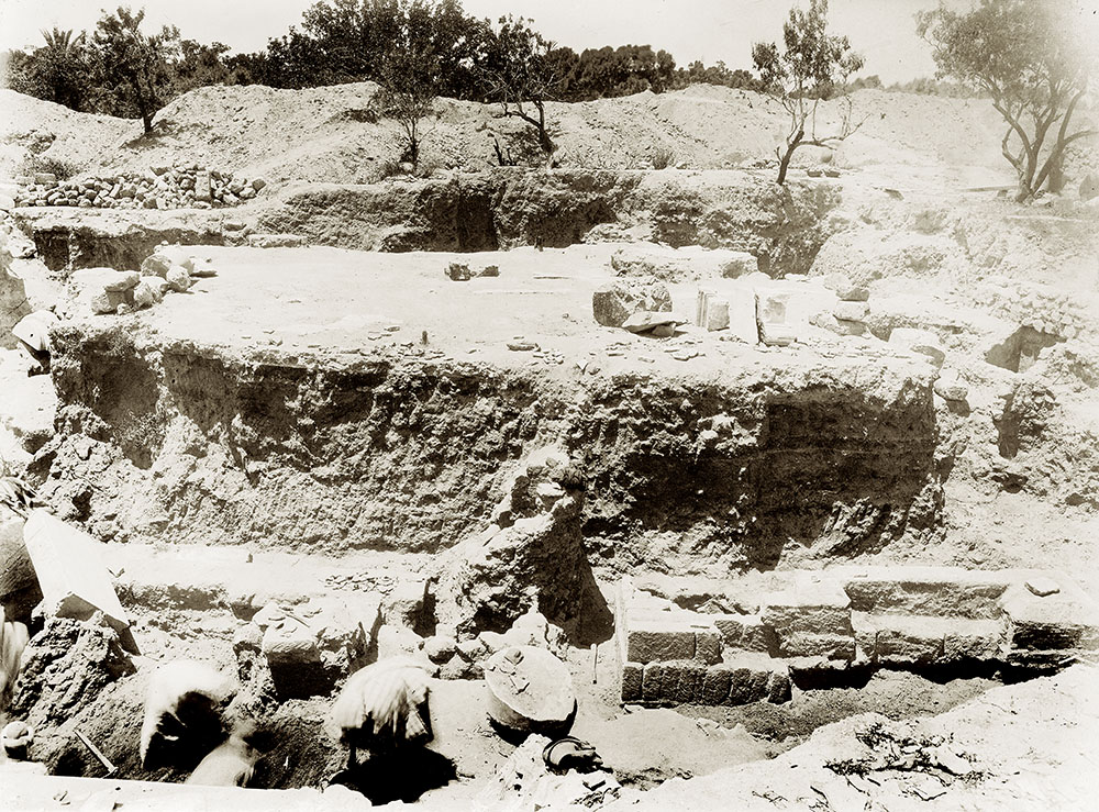 "Fig. 1. View of Wall T3 (W140) of the Hellenistic complex at Ashkelon, from the Palestine Exploration Fund excavations (PEF G344, ""S. end General view from E. showing triple pavement and Hellenistic wall,"" 1921; courtesy Palestine Exploration Fund, London)."