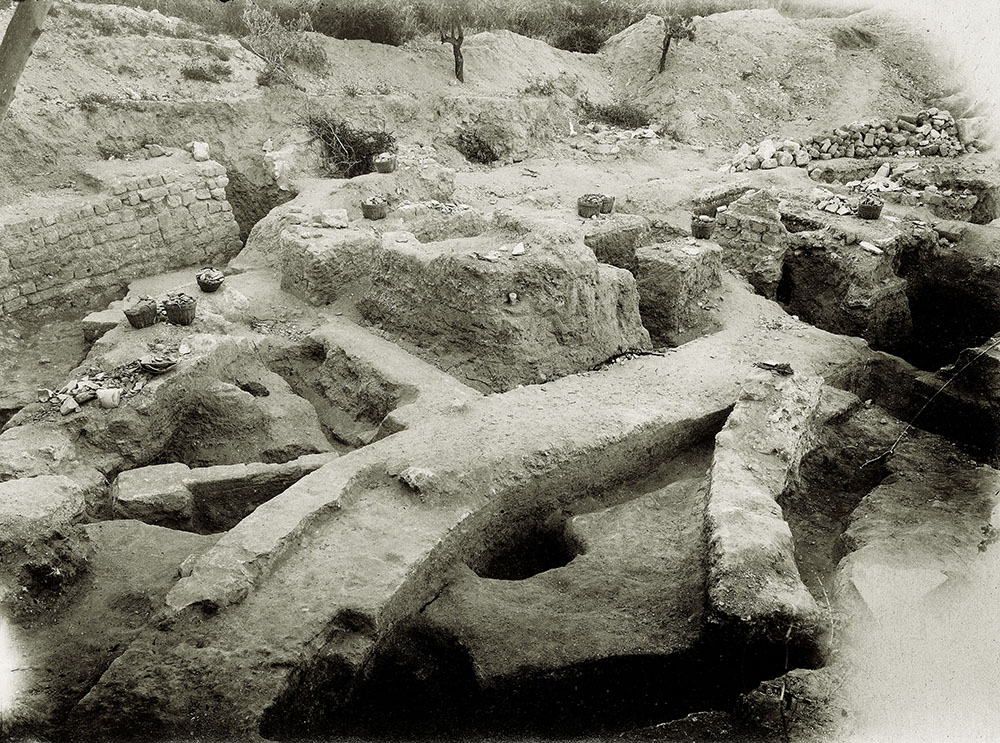 "Fig. 4. Western aditus maximus of the bouleuterion/odeum (PEF G341, ""Foundations of basilica 1921""; courtesy Palestine Exploration Fund, London)."