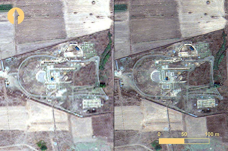 Fig. 1. The agora at Mantinea before image fusion (left) and after image fusion (right), from WorldView-2, 11 September 2013 (© DigitalGlobe, Inc.; all rights reserved).