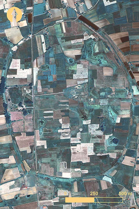 Fig. 3. Mantinea from a QuickBird image taken 3 June 2012 (© DigitalGlobe, Inc.; all rights reserved).
