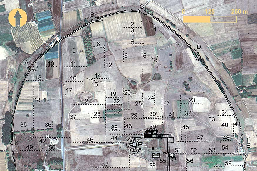 Fig. 5. Surface anomalies in the northern region of Mantinea identified from remote sensing. Numbers indicate surface anomalies, and letters mark the location of gates (includes copyrighted material of DigitalGlobe, Inc.; all rights reserved).