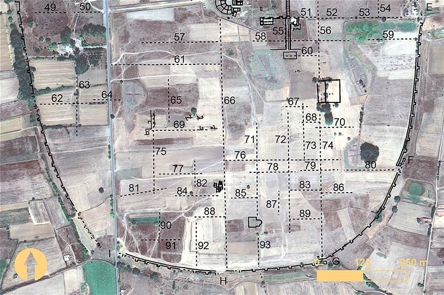 Fig. 6. Surface anomalies in the southern region of Mantinea identified from remote sensing. Numbers indicate surface anomalies, and letters mark the location of gates (includes copyrighted material of DigitalGlobe, Inc.; all rights reserved).