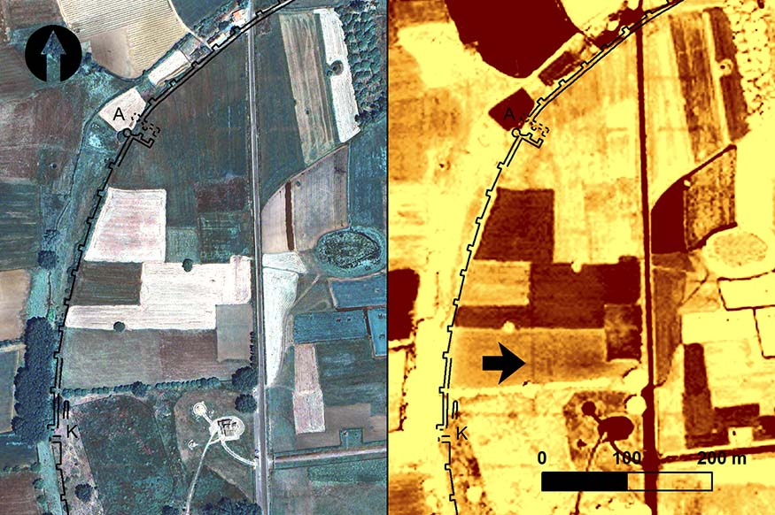 Fig. 8. The northwestern region of Mantinea from a QuickBird image taken 3 June 2012: left, true-color RGB; right, normalized difference vegetation index (NDVI) feature enhancement. Black arrow indicates the location of anomaly 18 (includes copyrighted material of DigitalGlobe, Inc.; all rights reserved).