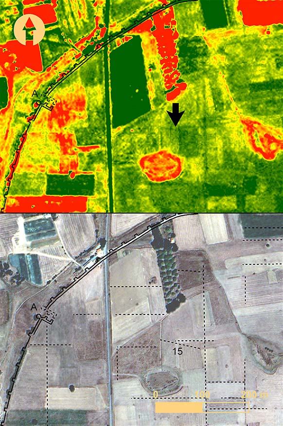 Fig. 10. The northwestern region of Mantinea from a QuickBird image taken 13 September 2003: top, with green normalized difference vegetation index (NDVI) feature enhancement applied; bottom, with surface anomalies marked. Black arrow indicates the location of anomaly 15 relative to Gate A (includes copyrighted material of DigitalGlobe, Inc.; all rights reserved).