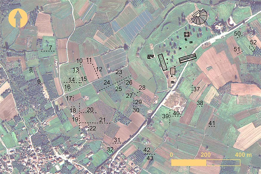 Fig. 14. Surface anomalies in the west-central region of Elis identified from remote sensing. Numbers indicate the surface anomalies (includes copyrighted material of DigitalGlobe, Inc.; all rights reserved).