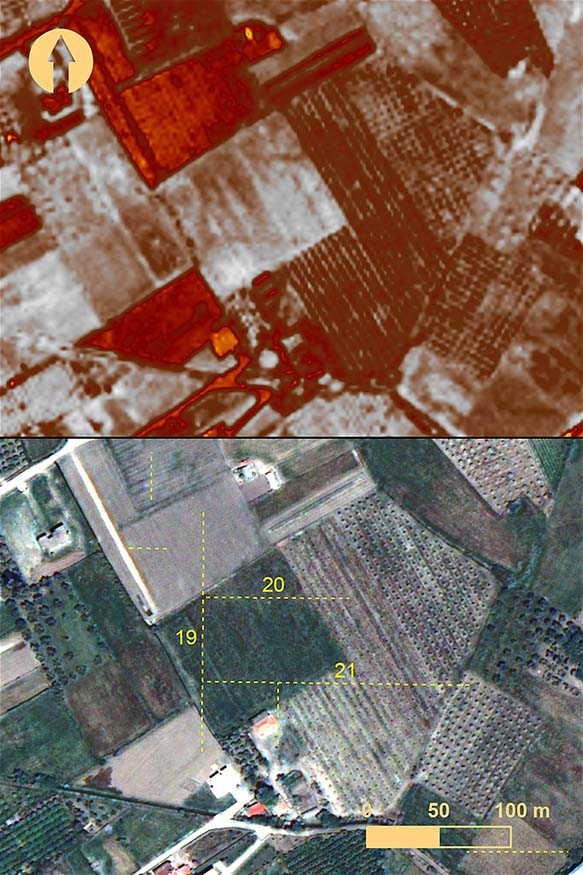 fig. 16. Elis from a QuickBird image taken 30 April 2010: top, with green normalized difference vegetation index (NDVI) feature enhancement applied; bottom, with surface anomalies marked by numbers. The linear outlines of anomalies 19–21 are distinct in the feature enhancement (includes copyrighted material of DigitalGlobe, Inc.; all rights reserved).