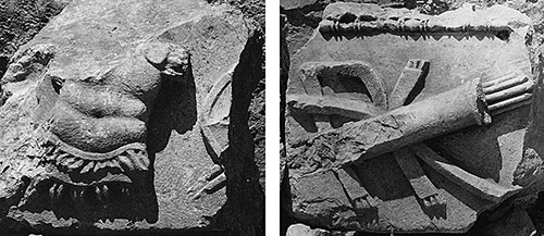 Fig. 10. Frieze blocks from the Arch of Augustus with cuirass and quiver depicted in relief (G.R. Swain, archive photographs, 1924, nos. 7.1454, 7.1453, Pisidian Antioch excavation archive, Kelsey Museum of Archaeology, University of Michigan; courtesy Kelsey Museum of Archaeology).