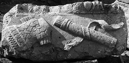 Fig. 11. Frieze block from the Arch of Hadrian and Sabina with cuirass and quiver depicted in relief (G.R. Swain, archive photograph, 1924, no. 5.0224, Pisidian Antioch excavation archive, Kelsey Museum of Archaeology, University of Michigan; courtesy Kelsey Museum of Archaeology).