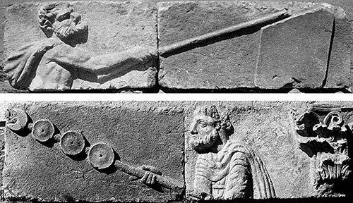 Fig. 17. Spandrel blocks from the Arch of Hadrian and Sabina with reliefs depicting a Gaul and a Parthian returning Roman military emblems (D.M. Robinson, archive photograph, 1924, no. KR110.04; G.R. Swain, archive photograph, 1924, no. 7.1613, Pisidian Antioch excavation archive, Kelsey Museum of Archaeology, University of Michigan; courtesy Kelsey Museum of Archaeology).