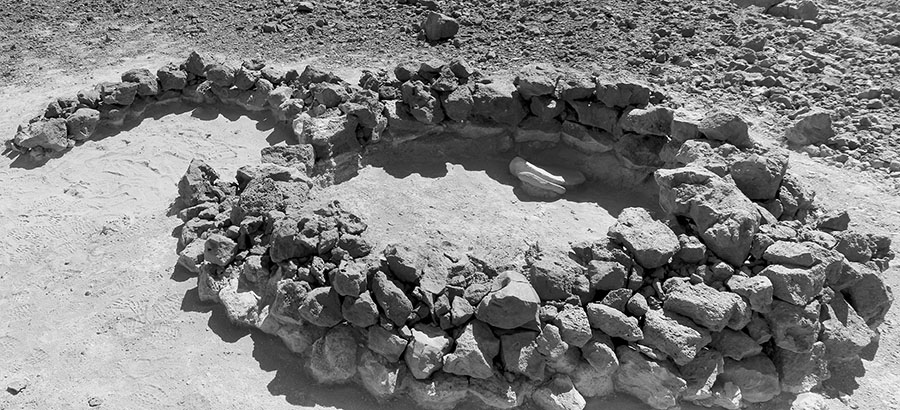 Fig. 1. View of the excavated double-apsidal dwelling structure from Tulul al-Ghusayn, with two large grinding slabs in situ.