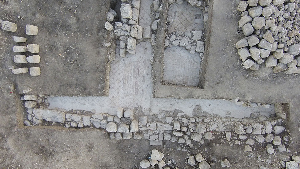 Fig. 9. Aerial photograph of trench N with mosaic inscriptions from the northwest quarter of Jarash.