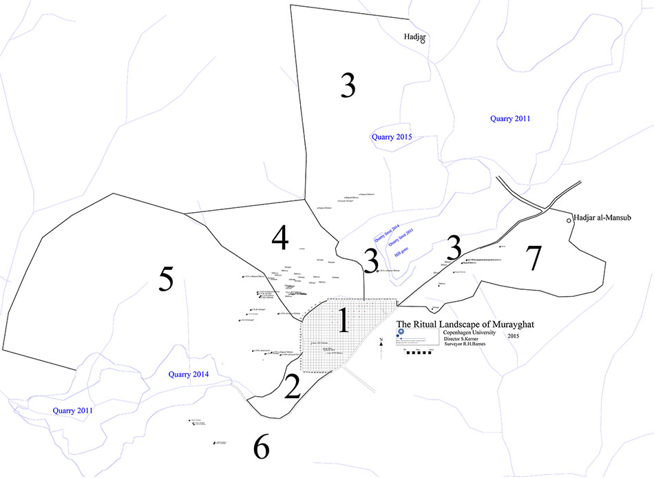 Fig. 12. Murayghat survey plan, with Areas 1–7 marked.