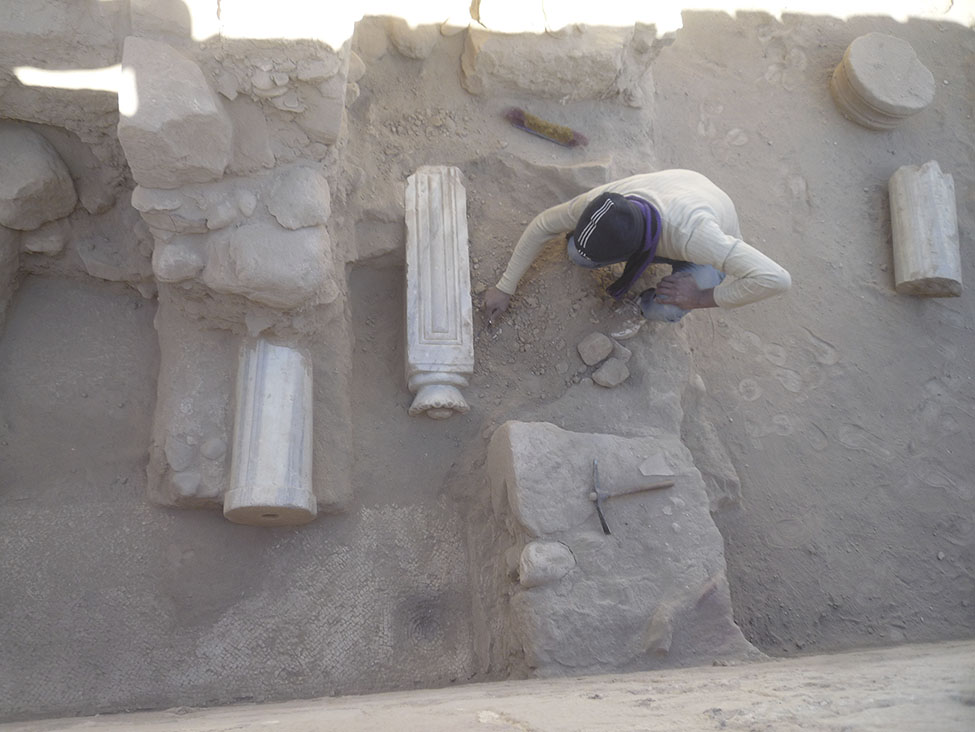 Fig. 14. Khirbat esh-Sheik 'Isa trench IX, showing recently discovered mosaic floor and marble columns.