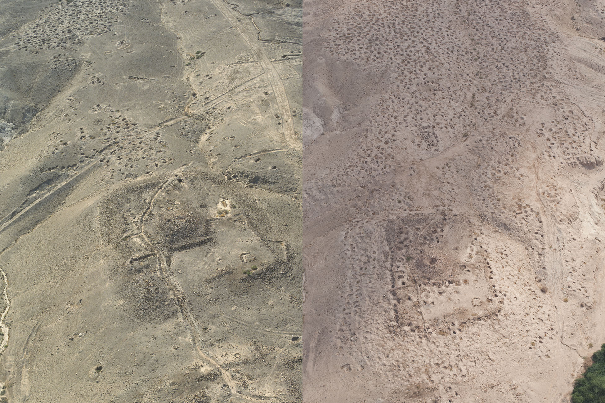 "Fig. 16. Changes in the Fifa landscape between 1998 (left) and 2014 (right) (left, D. Kennedy, APAAME_19980520_DLK-0133; right, R. Bewley, APAAME_20141013_RHB-200; courtesy Aerial Photographic Archive for Archaeology in the Middle East [APAAME]; <a href=""http://www.apaame.org/"">www.apaame.org/</a>)."