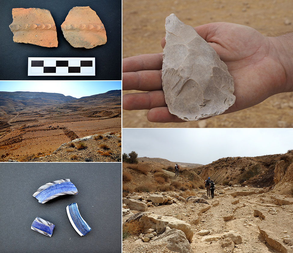 Fig. 18. Flint axe, glass bracelet fragments, and Bronze Age sherds recovered during the Wadi Mashra survey.