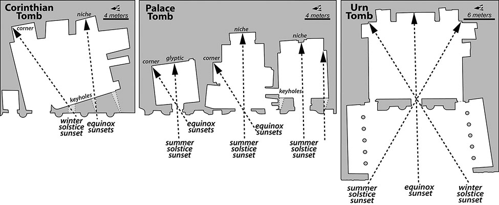 Fig. 23. Plans of the three Royal Tombs within Petra, showing how the tombs are affected by different seasonal solar events.