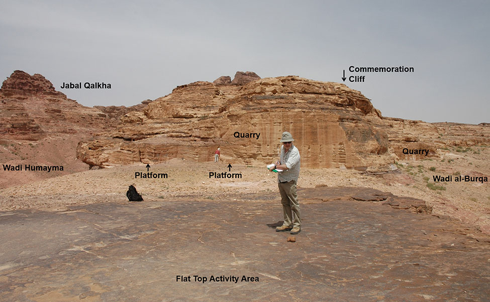 "Fig. 26. Humayma's ""Commemoration Cliff"" in relation to the quarries, ""Flat Top Activity Area,"" nearby wadis, and Jabal Qalkha."