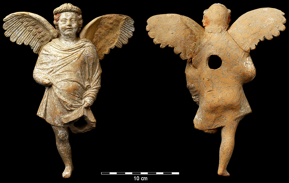 Fig. 1. The Eros terracotta figurine from Tel Kedesh, front and back views (P. Lanyi; courtesy Sharon Herbert and Andrea Berlin, Tel Kedesh Excavations).