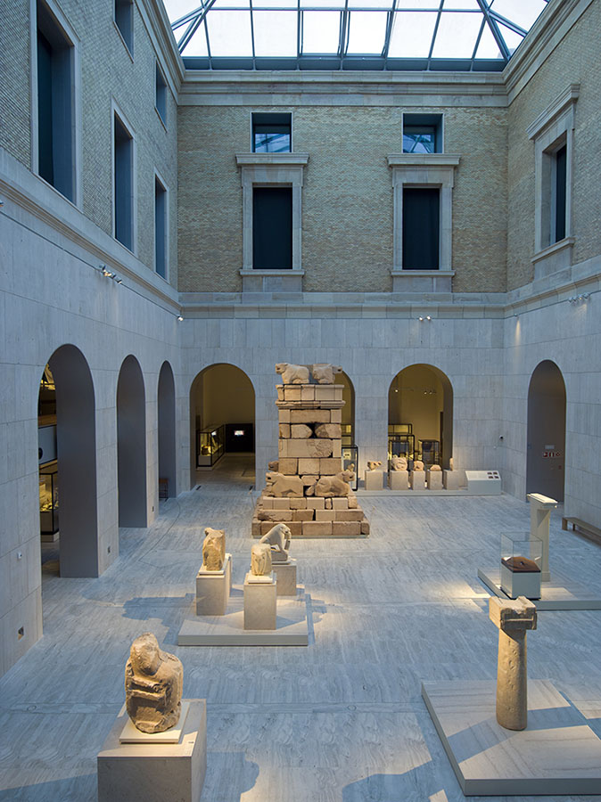 Fig. 1. North patio with funerary monument of Pozo Moro, Iberian culture, sixth century B.C.E., sandstone, Necropolis of Pozo Moro, Chincilla de Monte-Aragón (Albacete) (Luis Asín; courtesy Museo Arqueológico Nacional, Madrid).