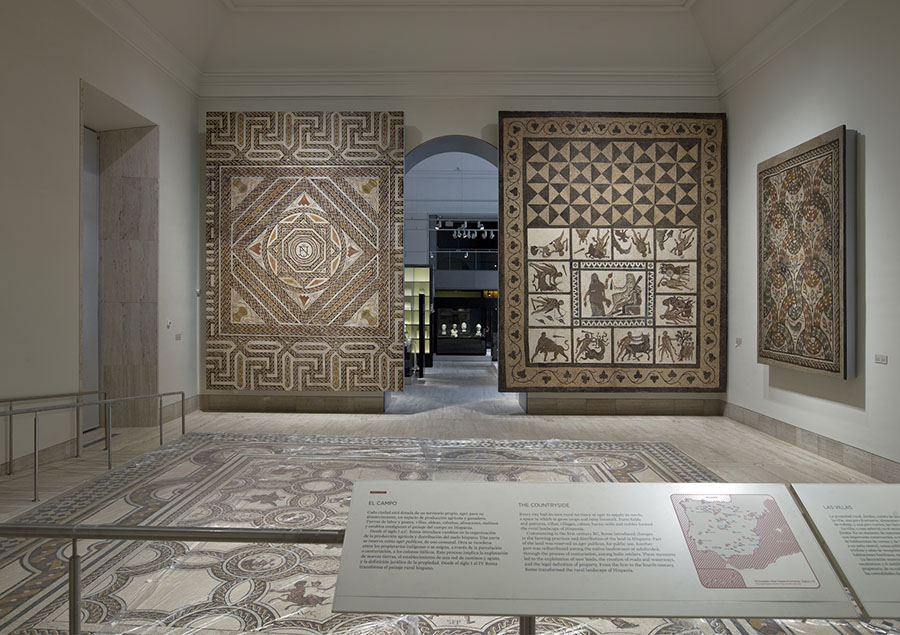 "Fig. 3. The Museo Arqueológico Nacional's ""Roman Hispania"" gallery, with mosaics from Hispano-Romano villas (Luis Asín; courtesy Museo Arqueológico Nacional, Madrid)."